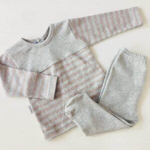 Conjunto gris rayas de primera puesta dos colores hasta 6m