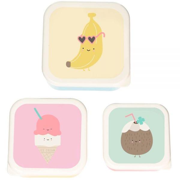 taper Pack 3 Cajas Almuerzo banana y helados