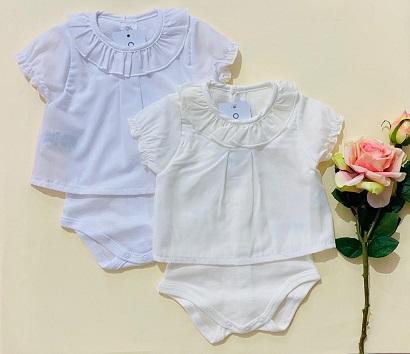 Body camisa manga corta blanco y crudo