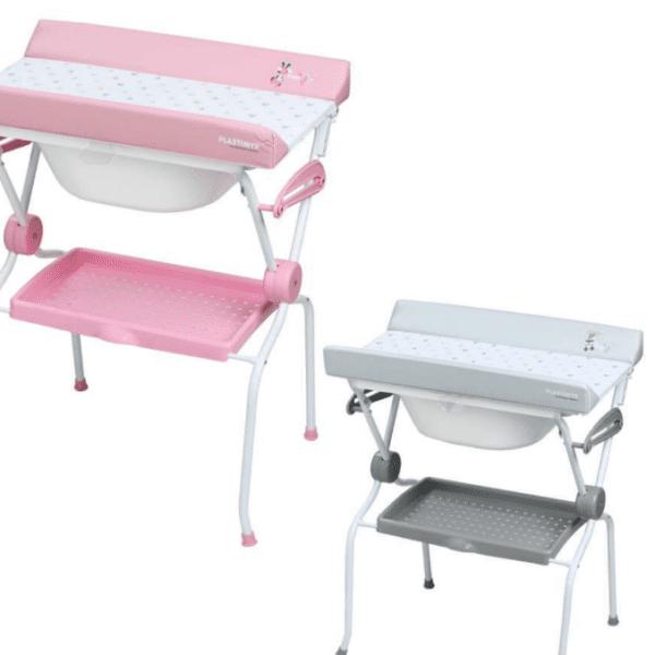 banera con cambiador minnie rosa y gris