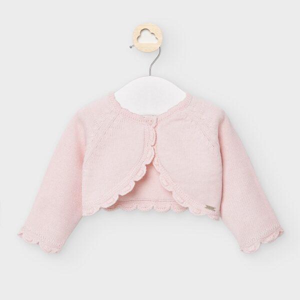 rebeca corta tricot recien nacido niña rosa baby mayoral