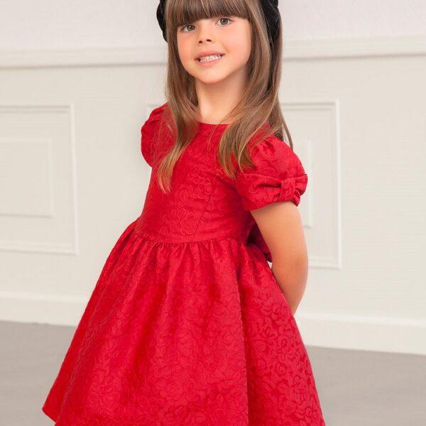 Vestido Jacquard Flores Rojo