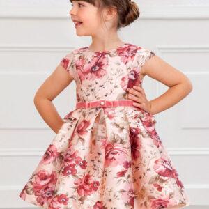 Vestido Mikado estampado floral Rosa