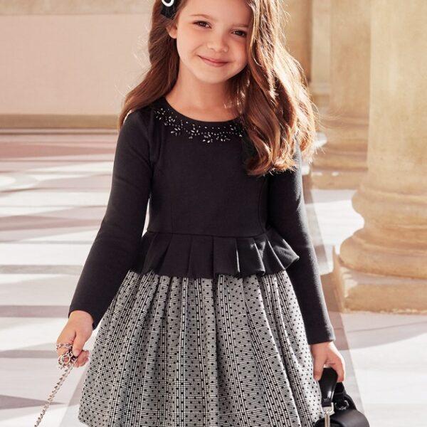 Vestido combinado punto Roma Negro