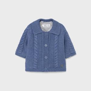 Chaqueta tejida de manga larga para recién nacido niño 0 a 18 Meses. Cierre con botones en la parte delantera. Forro interior de punto borrego.